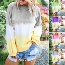 Load image into Gallery viewer, Gradient Color Long Sleeve Blouse without Necklace