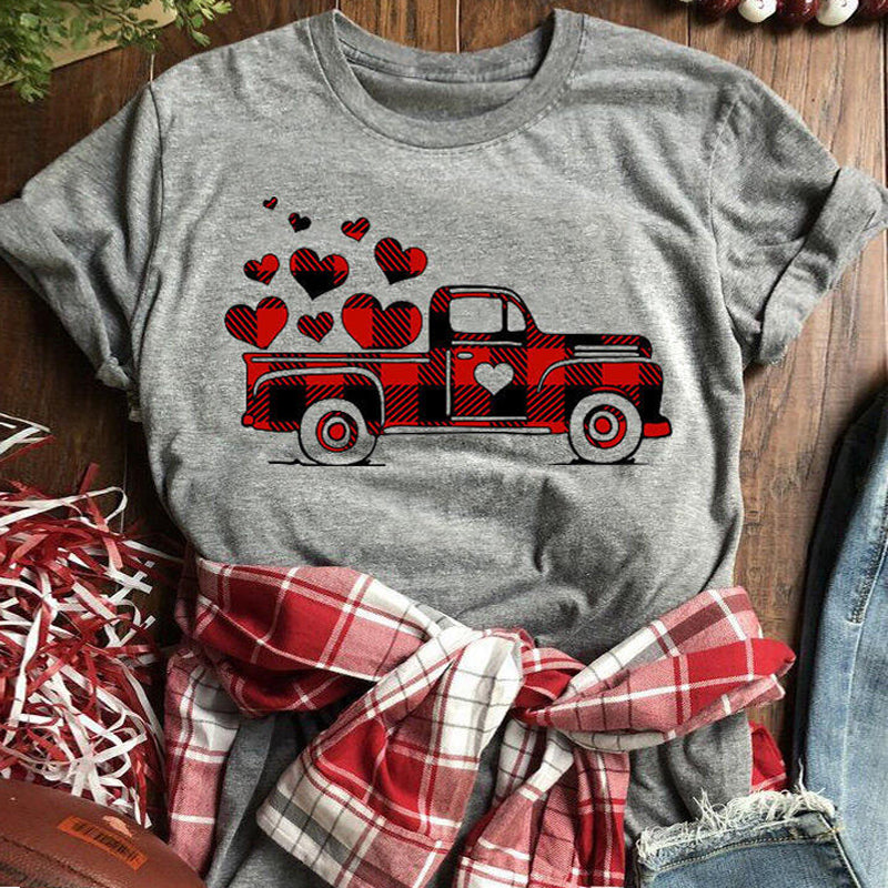 Car Pattern Plaid Stitching Heart Round Neck Short Sleeve T-shirt - PRESALE