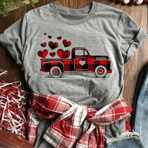 Car Pattern Plaid Stitching Heart Round Neck Short Sleeve T-shirt