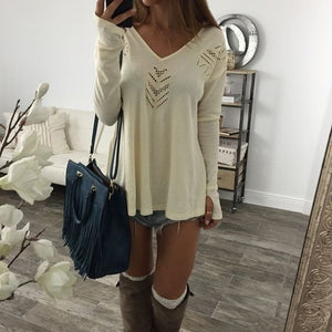 Sexy V-neck Long-sleeved Floral Casual T-shirt