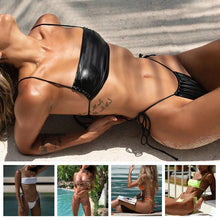 Load image into Gallery viewer, 2pcs/Set Women's Sexy Bandeau Bikini Separated Swimsuit Beach Swimwear T-Back