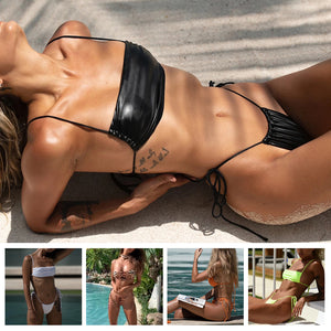 2pcs/Set Women's Sexy Bandeau Bikini Separated Swimsuit Beach Swimwear T-Back