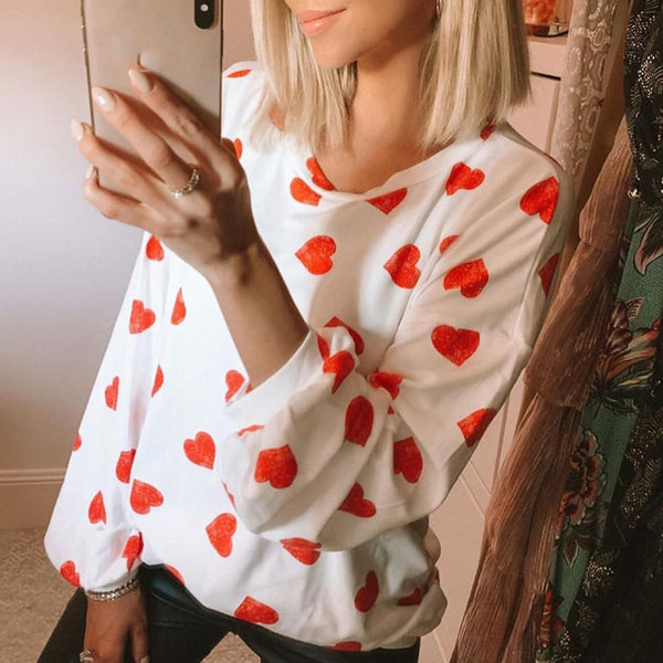 Full Version Heart Print Loose Long Sleeve Top - PRESALE