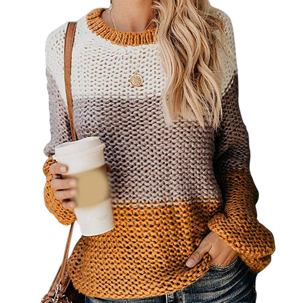 Women Splice Multicolors Pullover Sweaters Autumn Winter Long Sleeve Round Neck