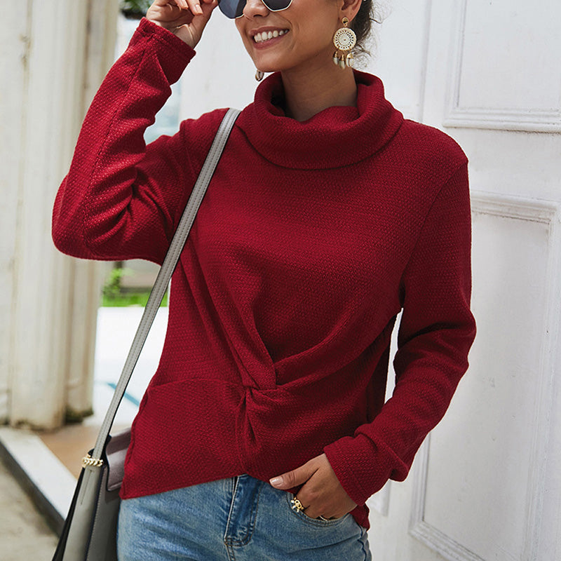 Women Sweaters Pullover Autumn New High Collar Long Sleeve Lace-Up Solid Color