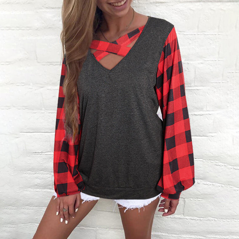 V-neck Checked Splicing Lantern Long Sleeve T-shirt