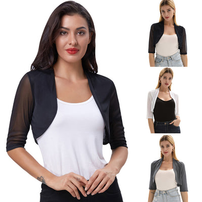 GK Women's Summer See-Through 3/4 Sleeve Open Front Irregular Hem Shrug Bolero
