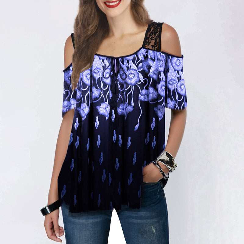 Off Shoulder Lace Splicing Floral Print Blouse