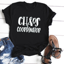 Load image into Gallery viewer, CHAOS COORDINATOK Letter Print Short Sleeve T-Shirt