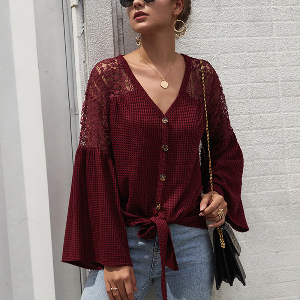 Women's Bell Sleeve Tops for Summer - V-Neck, Lace Hollow, Splice Lace-Up, Button Down