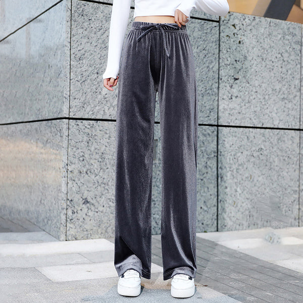 Women's Winter Casual Loose Pants Pleuche High Waist Stretch Slim Trousers