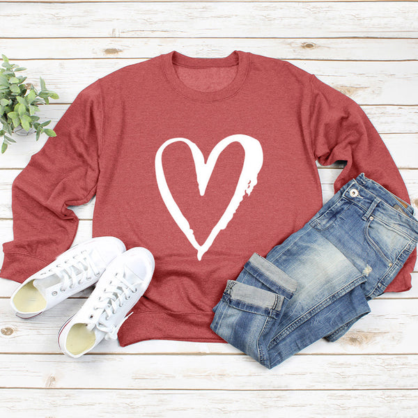 Love Heart Print Long Sleeves Sweatshirt - PRESALE