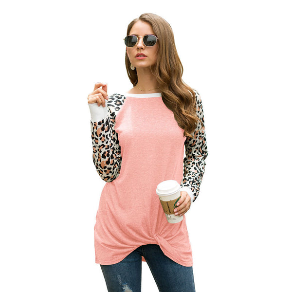Women Tops Blouse Long Sleeve Round Neck Leopard Splice Two-Color Fashion
