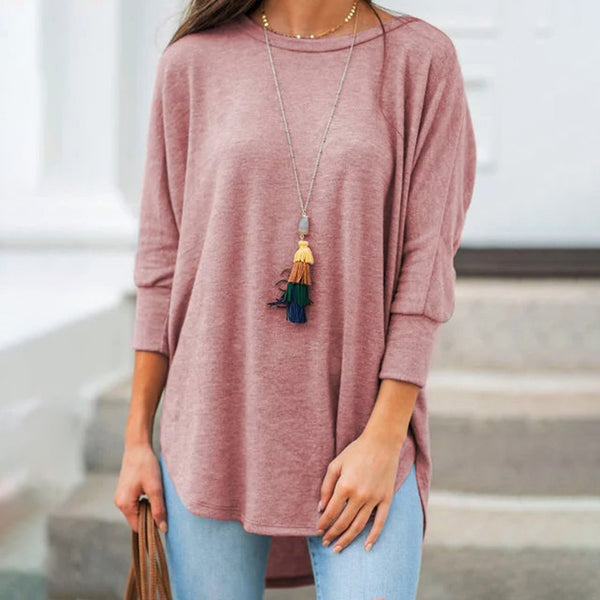 Women Casual Loose Round Neck Tops 3/4 Sleeve T-Shirt Plus Size Solid Color