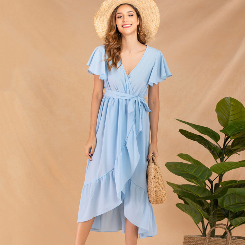 Women Dress Summer V-Neck Flutter Sleeve Ruffled Lace-Up Elegant Fashion