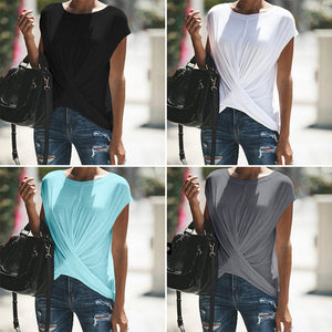 New Casual Short Sleeve Solid Color Large Size T-shirt