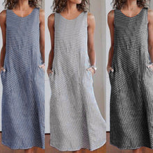 Load image into Gallery viewer, Women Summer Round Neck Stripe Splice Sleeveless Pocket Large Size Dress