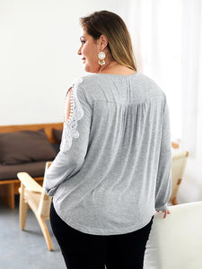 Women Long Sleeve Loose T-shirt V-Neck Autumn and Winter Casual Plus Size Tops