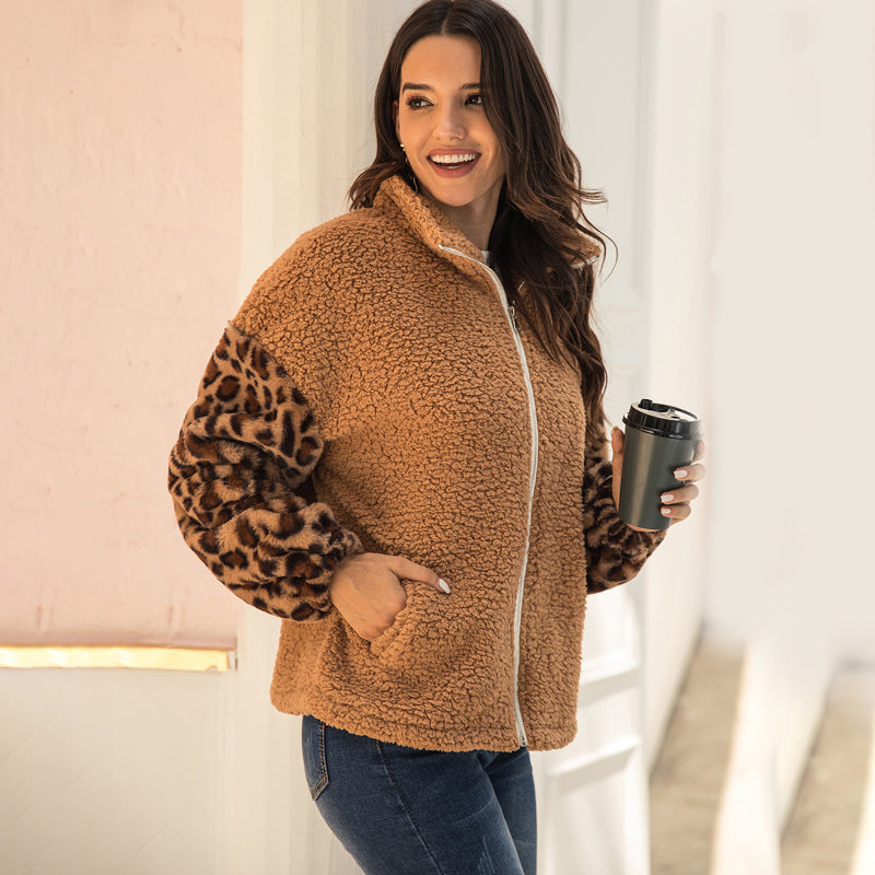 Women Leopard Print Pocket Zipper Coat Outwear Autumn Winter New Splice Warm