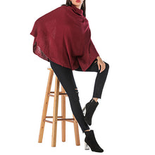 Load image into Gallery viewer, Women's Casual Turtleneck Cloak Sweater Loose Pullover Batwing Sleeve Knitwear