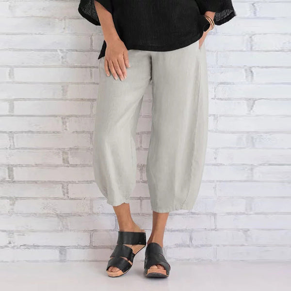 Fashion Women Casual Solid Color High Waist Loose Holiday Beach Cropped Pants