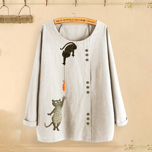 Women's Cat Fish Print Tops Round Neck Long Sleeve Cotton Linen Loose Casual