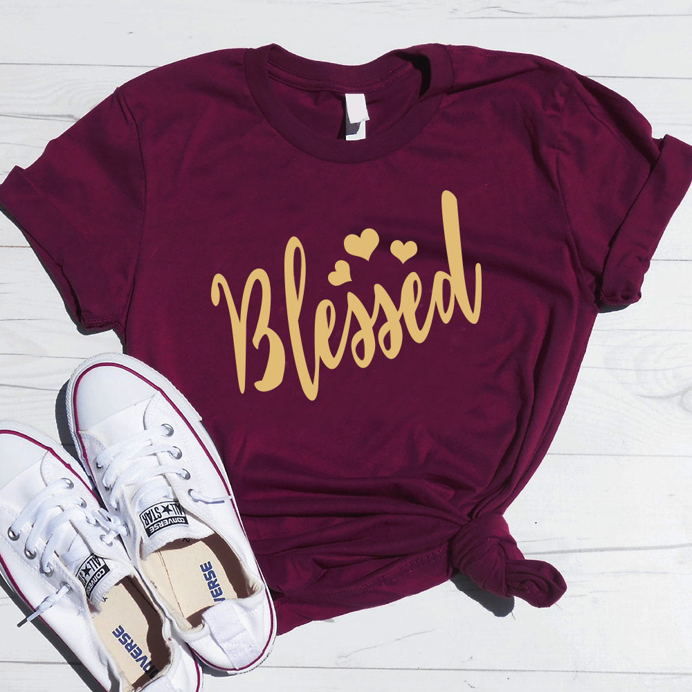 Thanksgiving Day Blessed Printing Round Neck Short Sleeve T-Shirt