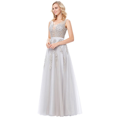 Light Grey and Navy Blue Sleeveless Deep V-Back Full-Length Evening Dress