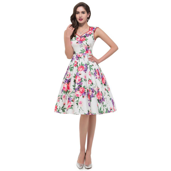 GK Vintage Party Dress - Sleeveless, V-Neck, Flower/Polka Dots Pattern