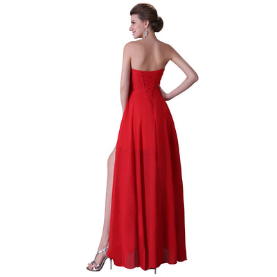 Navy Blue and Red Strapless Chiffon Floor-Length Evening Dress
