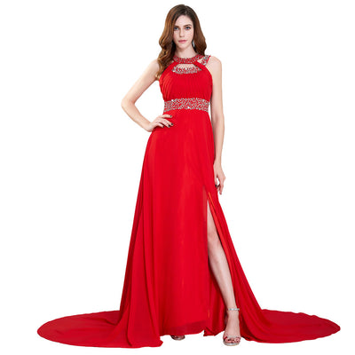 Grace Karin Red Full Length Halter High Split Backless Ruched Bodice Chiffon Evening Prom Party Dress With Beading / Sequins