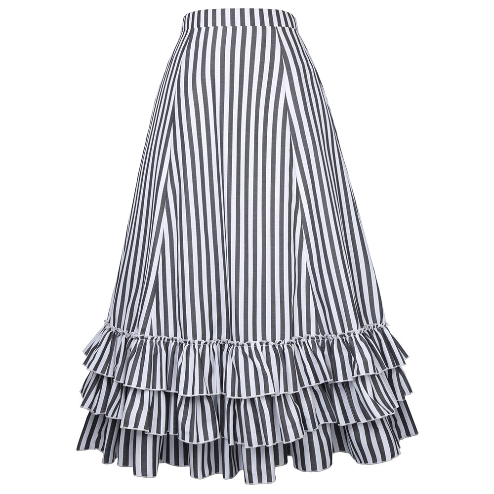 MOONAR Women's Vintage Stripes Gothic Victorian Skirt - PRESALE