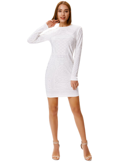 Grace Karin Damen Langarm Rundhalsausschnitt Hüften-Wickel-Body_con Dress_Weiß