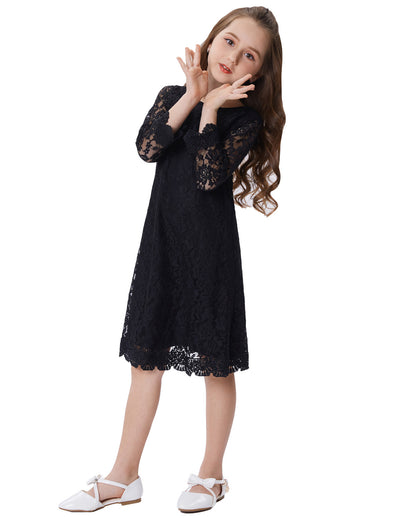 Grace Karin Beautiful Black Children Mid-Calf 3/4 Sleeve Round-Neck Two Layers Lace Comfortable Flower Girl's Dress