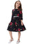 Black Flower Pattern Nine Point Bell Sleeve Party Girl's Dress with Belt