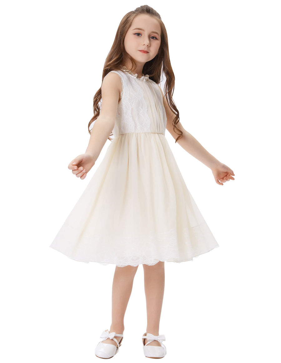 Grace Karin Cute Children Kids Beige Two Layer Silk-like Lace Sleeveless Princess Bridesmaid Wedding Party Flower Girl's Dress