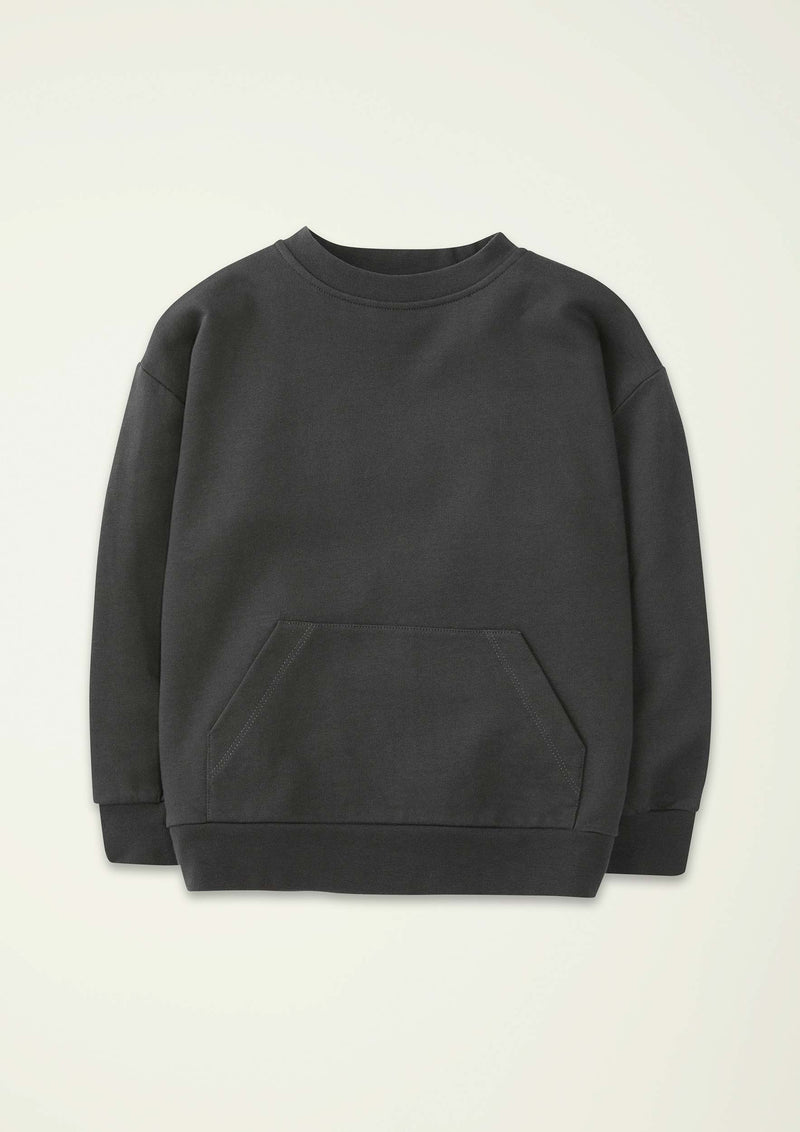 Washed-Black Wide Sweatshirt