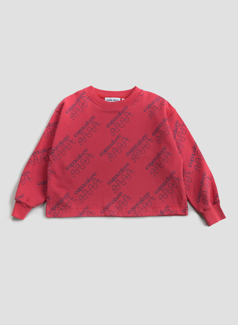 Faded Red Cropped Sweatshirt