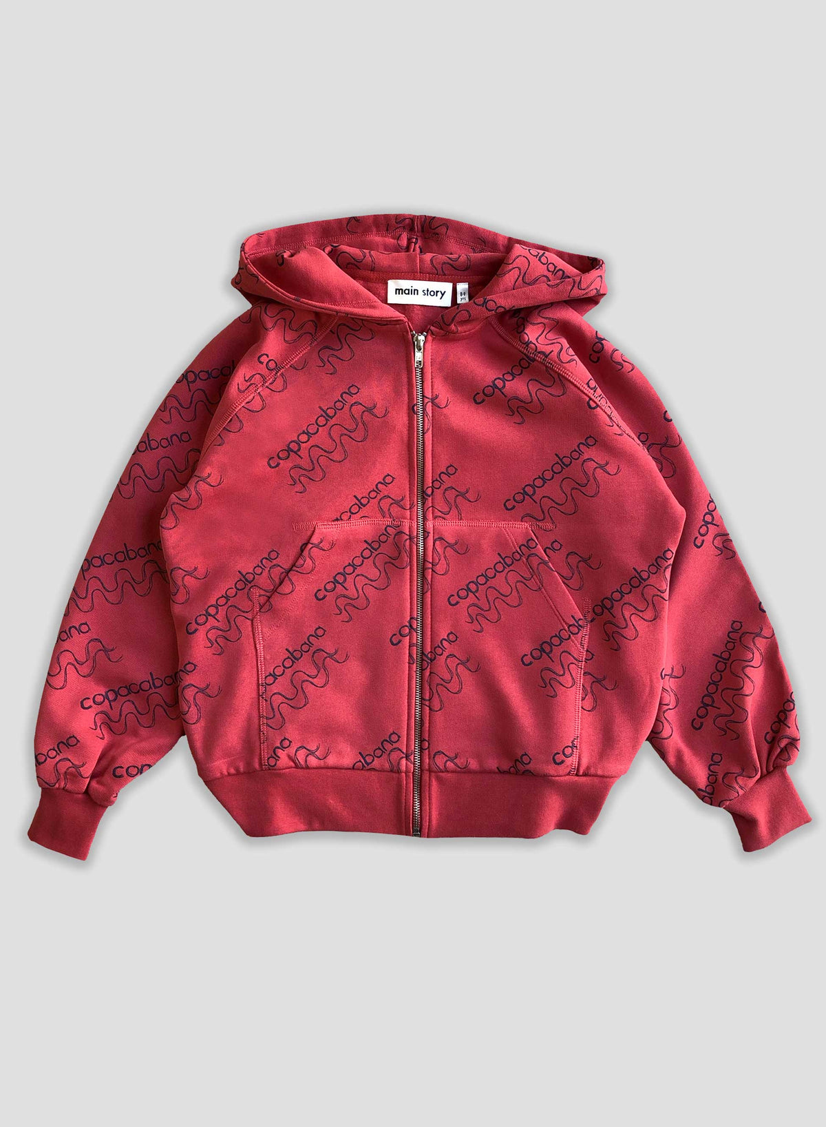 Faded Red Zipped Hoodie