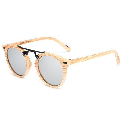 Wood Print Round Keyhole Sunglasses - DEALS EveryTime