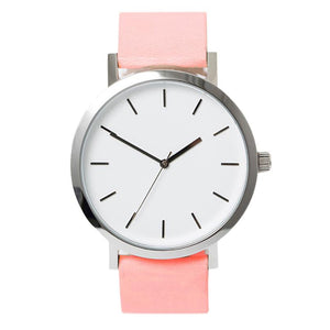 Pink Leather Quartz Watch