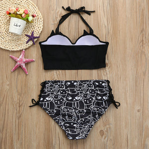 Cat faces black bikini swimsuit