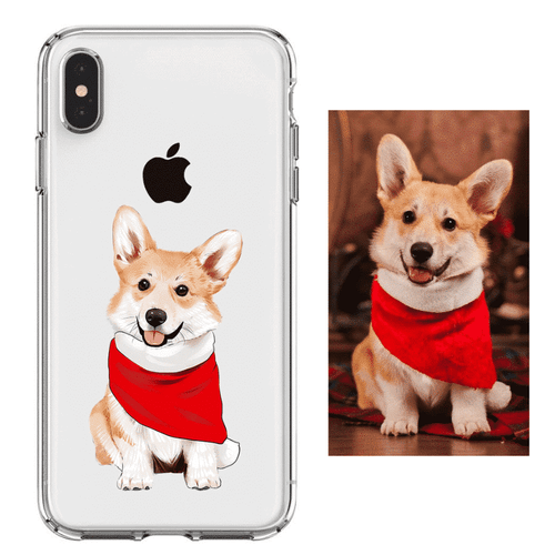 customized 3D pet portrait hand drawn TPU phone case