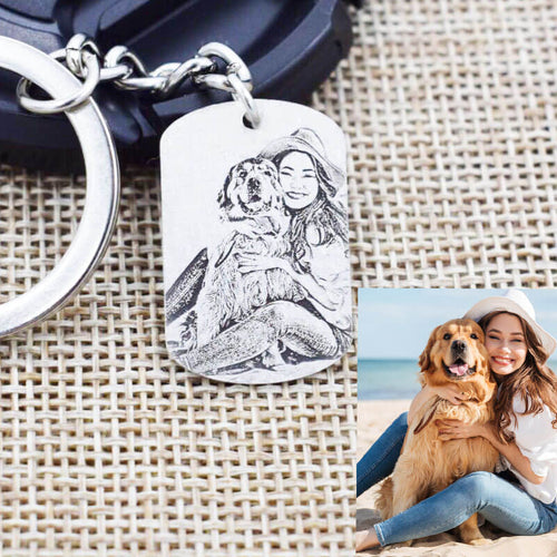 customized pet photo engraved keychain handmade sterling silver for pet owner
