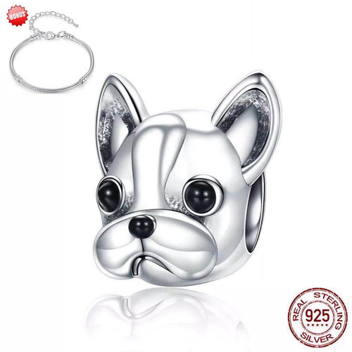 Sterling Sliver Bulldog Ring+Earring+Charm Beads