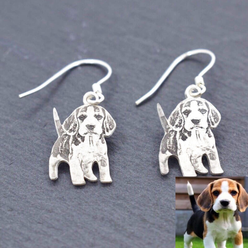 customized pet photo earring handmade sterling silver for pet owner