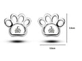 Silver 925+Zircon Cute Dog Paw Earring