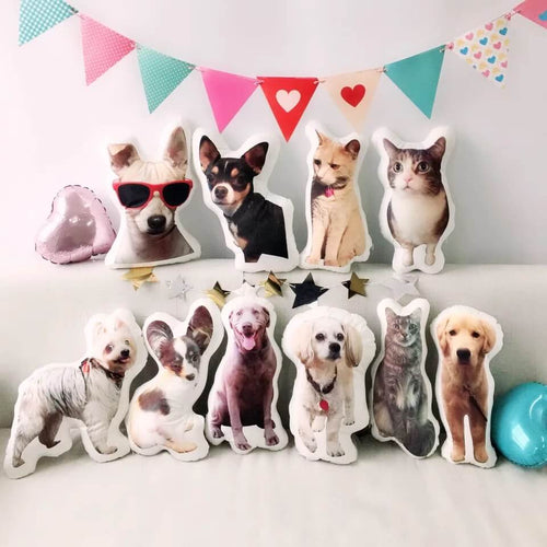 customized 3D pet portrait shaped pillow double sided printed for pet owner