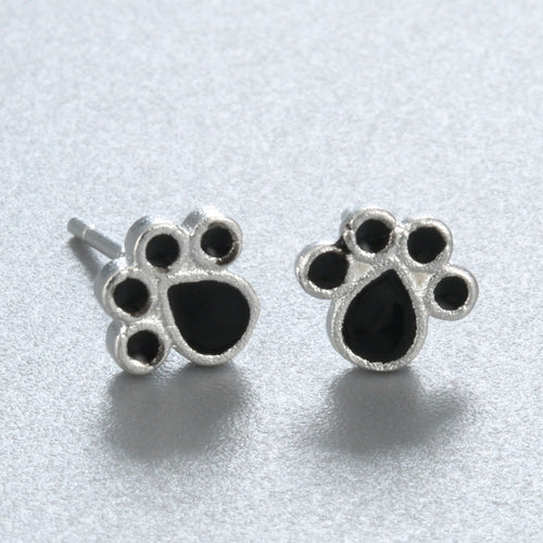 Women's Silver 925  Black Dog Paw Earrings