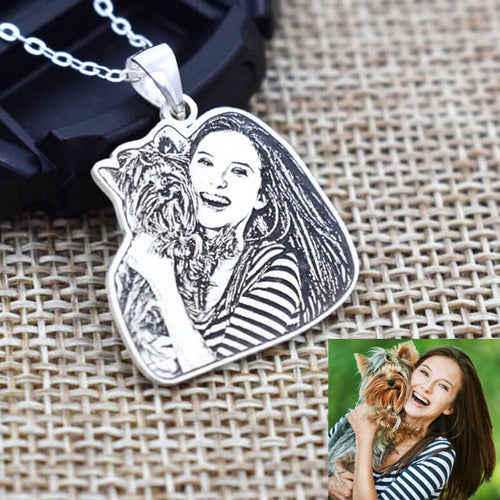 customized pet photo necklace handmade sterling silver